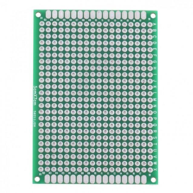 Макетная плата под пайку двухсторонняя 50х70мм стеклотекстолит (зеленая)