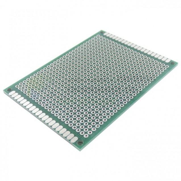 Макетная плата под пайку двухсторонняя 60х80мм стеклотекстолит (зеленая)