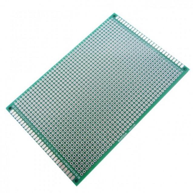 Макетная плата под пайку двухсторонняя 80х120мм стеклотекстолит (зеленая)